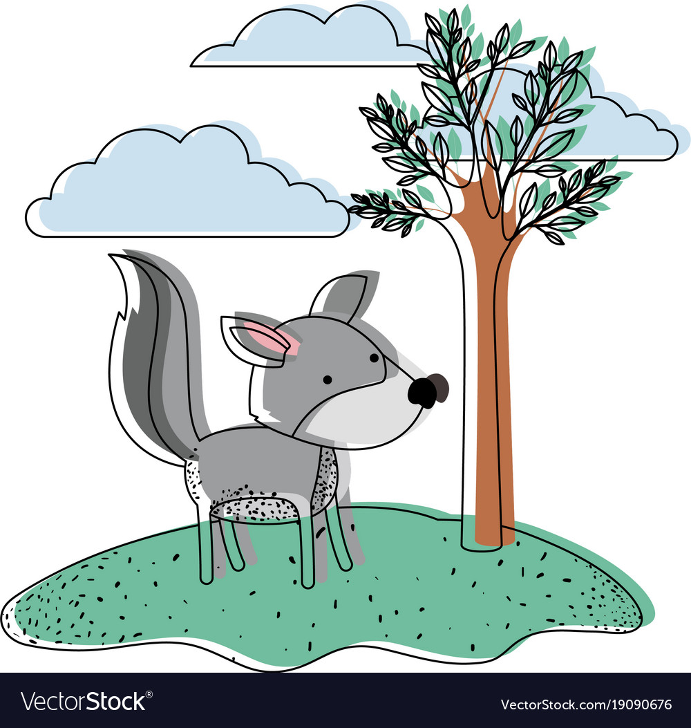 Wolf cartoon in outdoor scene with trees and.