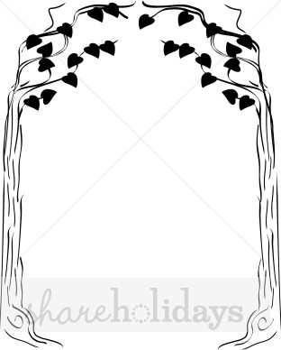 Tree wedding arch clipart.