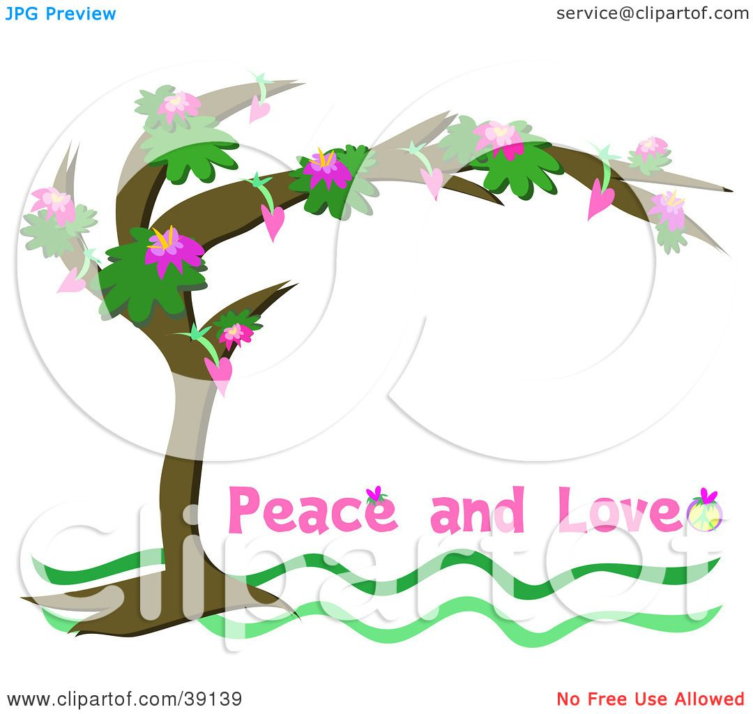 Clipart Illustration of a Flowering Tree Arching Over A White.