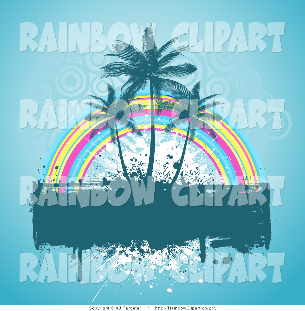 Vector Clip Art of a Dripping Grunge Text Box with Three Palm.