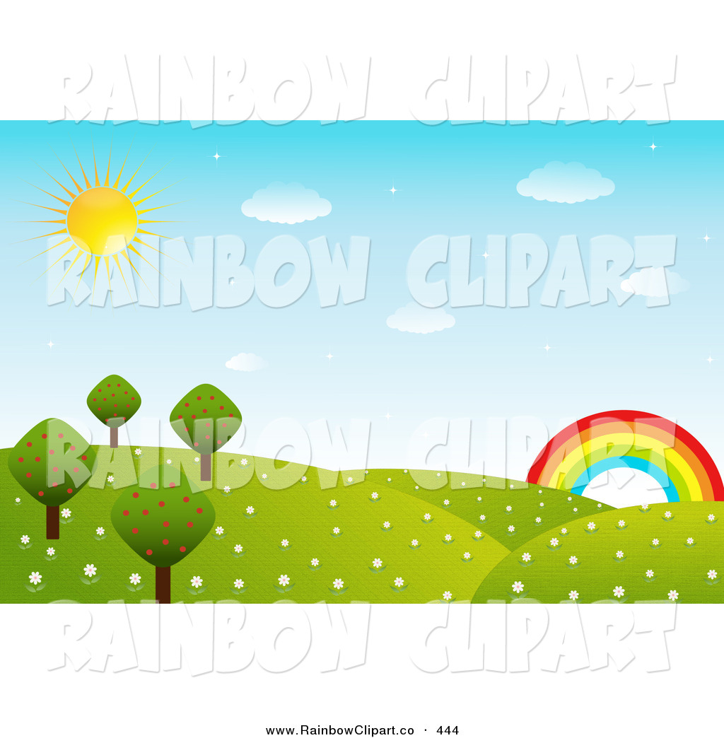 Vector Clip Art of a Beautiful Landscape of Rolling Hills, Flowers.