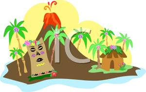 A Volcanic Island With A Hut And An Idol Surrounded By Palm.