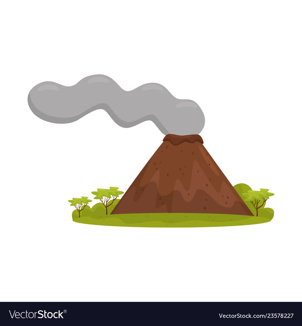 Natural bali landscape with smoking volcano green.
