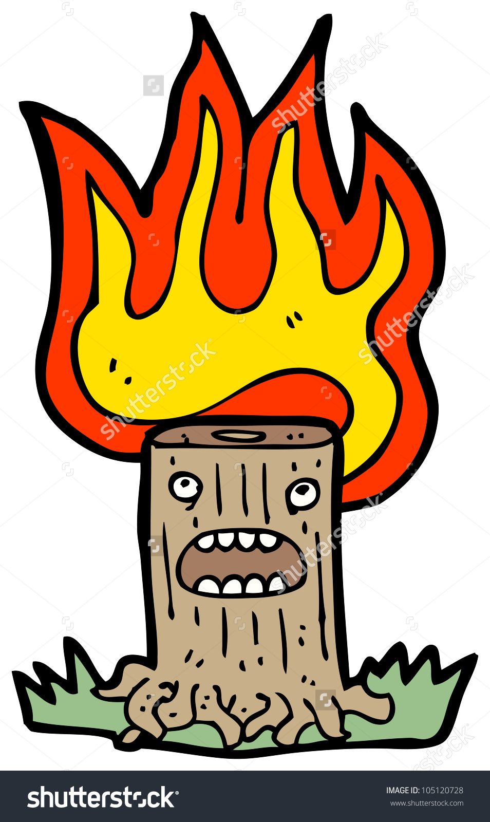 Burning tree clipart.