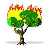Burning tree clipart.