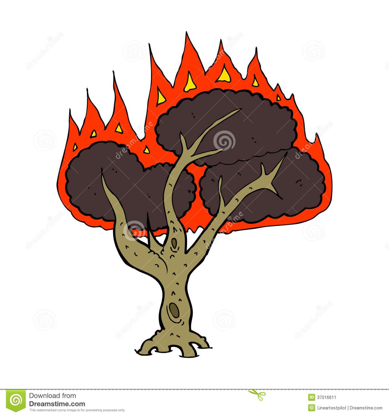 Cartoon Burning Tree Stock Image.