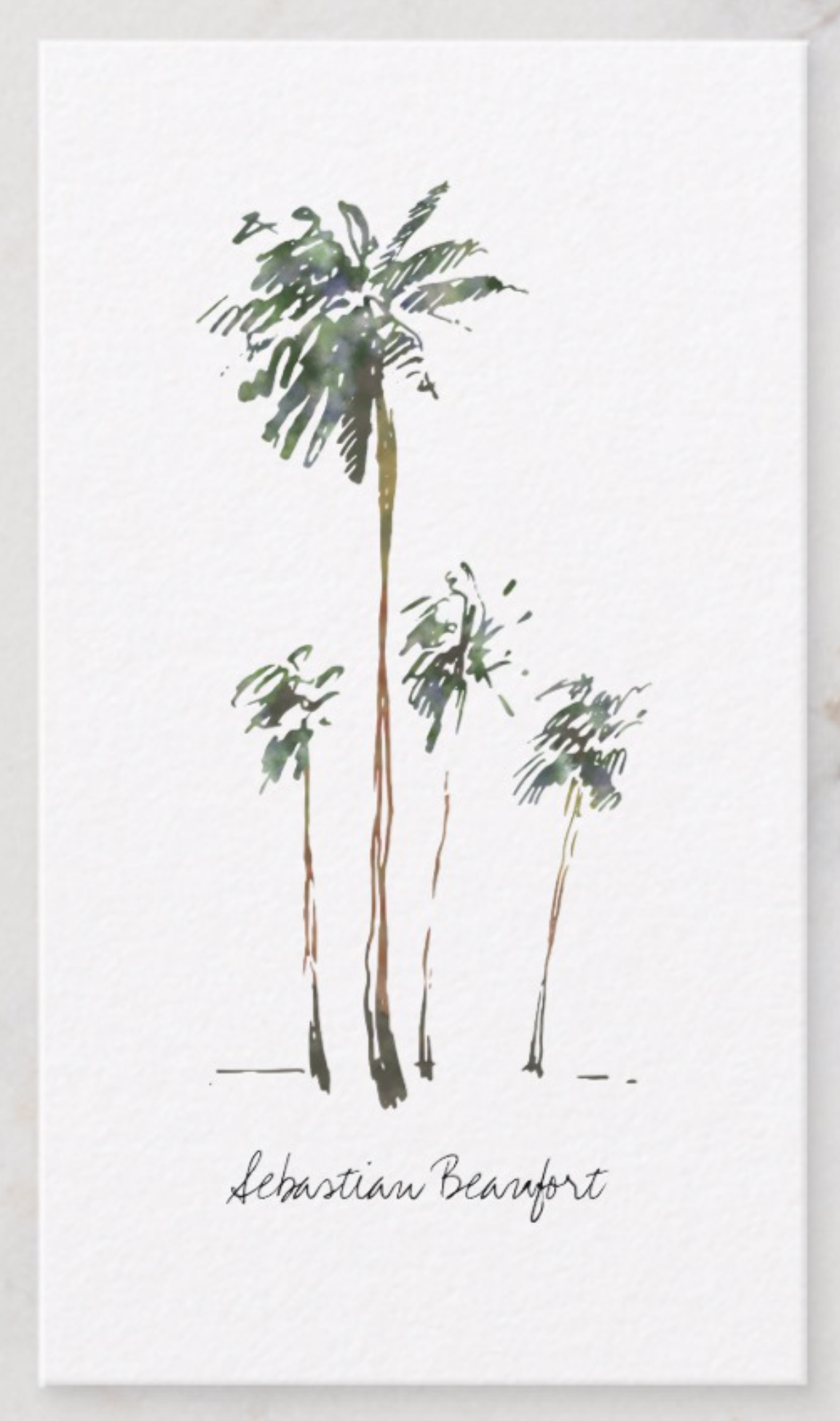 Palm Trees in Watercolor Business Card.