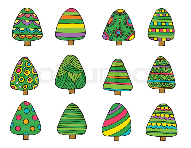 Collection of Christmas trees, modern.