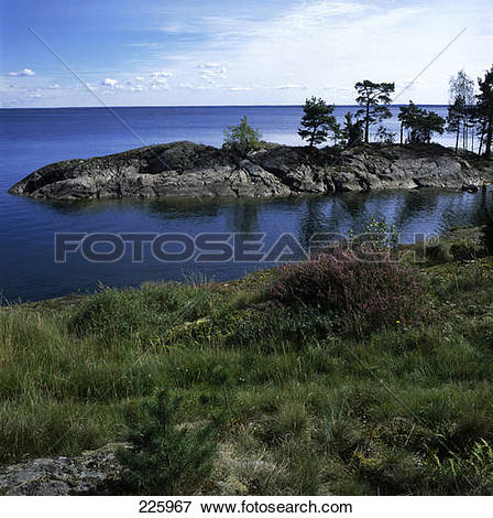 Picture of Trees on rocky island, Lake Vaenern, Sweden 225967.