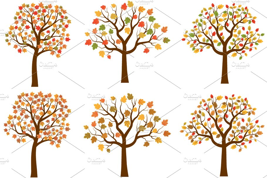 Autumn trees, Fall clipart.