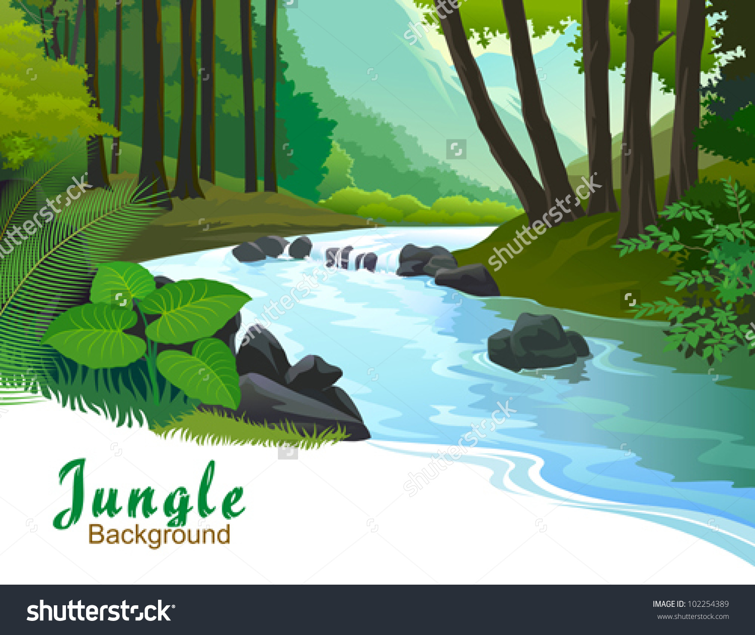 Tropical Jungle Trees Fresh Water Stream Stock Vector 102254389.