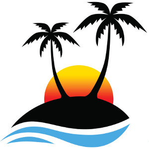 Clipart of palm trees and the water and a cruise ship.