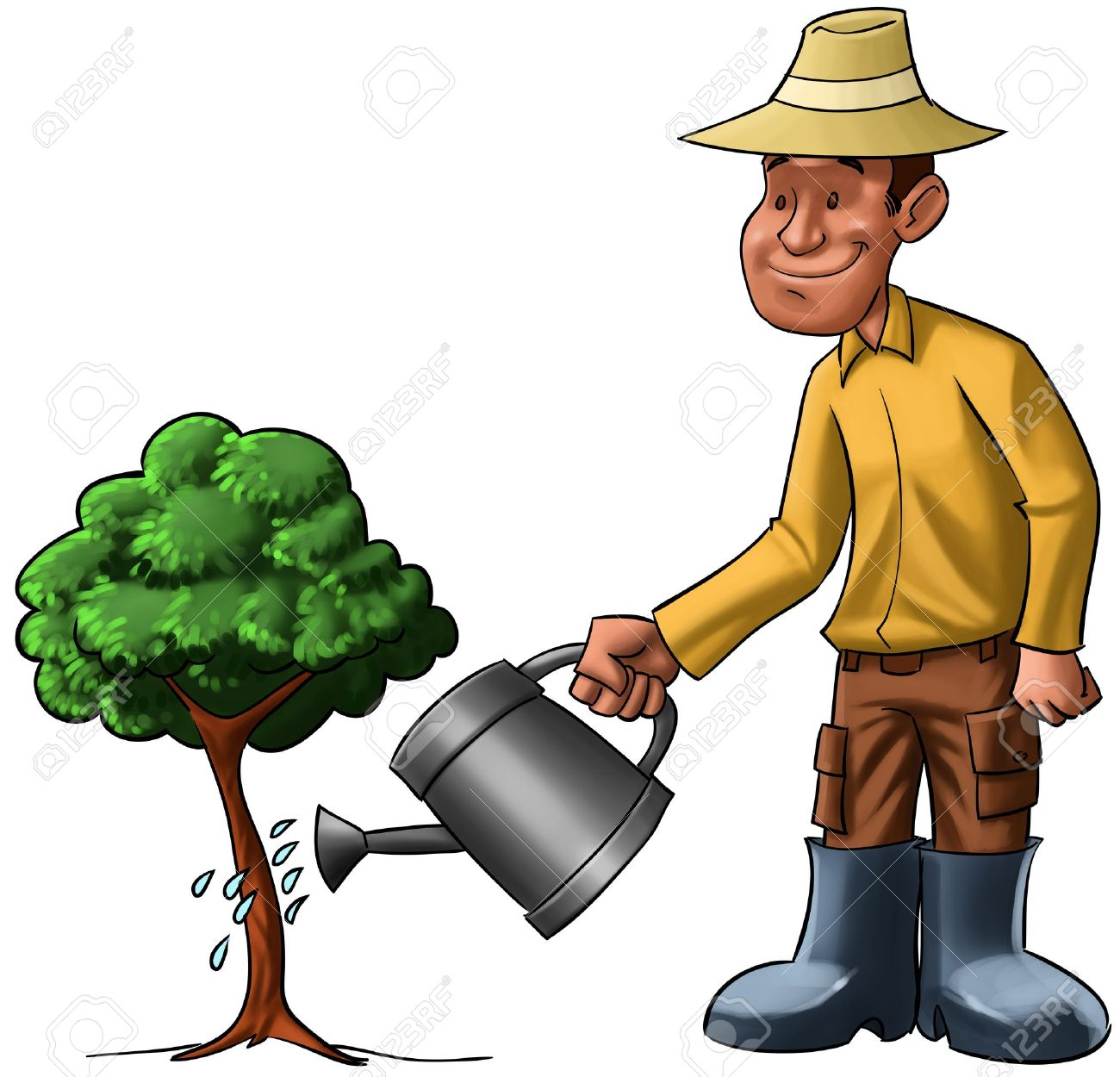Farmer Sprinkling A Young Tree, He Is Very Happy Stock Photo.