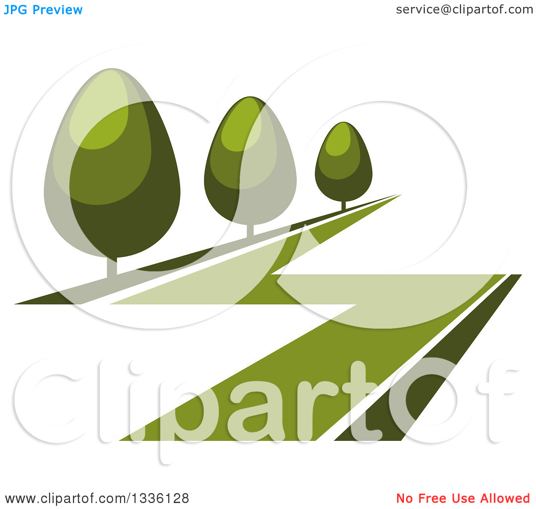 Clipart of a Green Lawn and Shrubs or Trees.