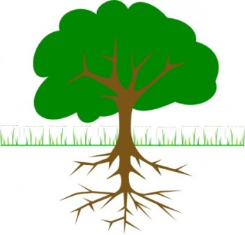 Trees with grass clipart.