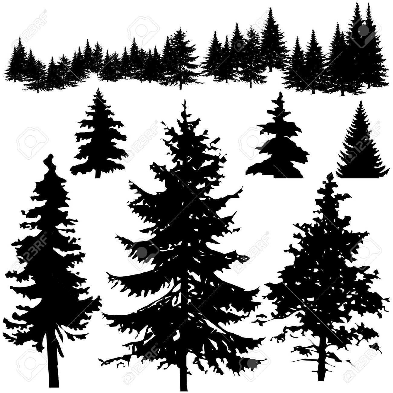 Pine tree silhouette clipart 2.