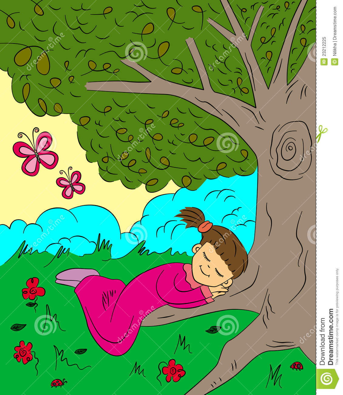 People sleeping in trees clipart.