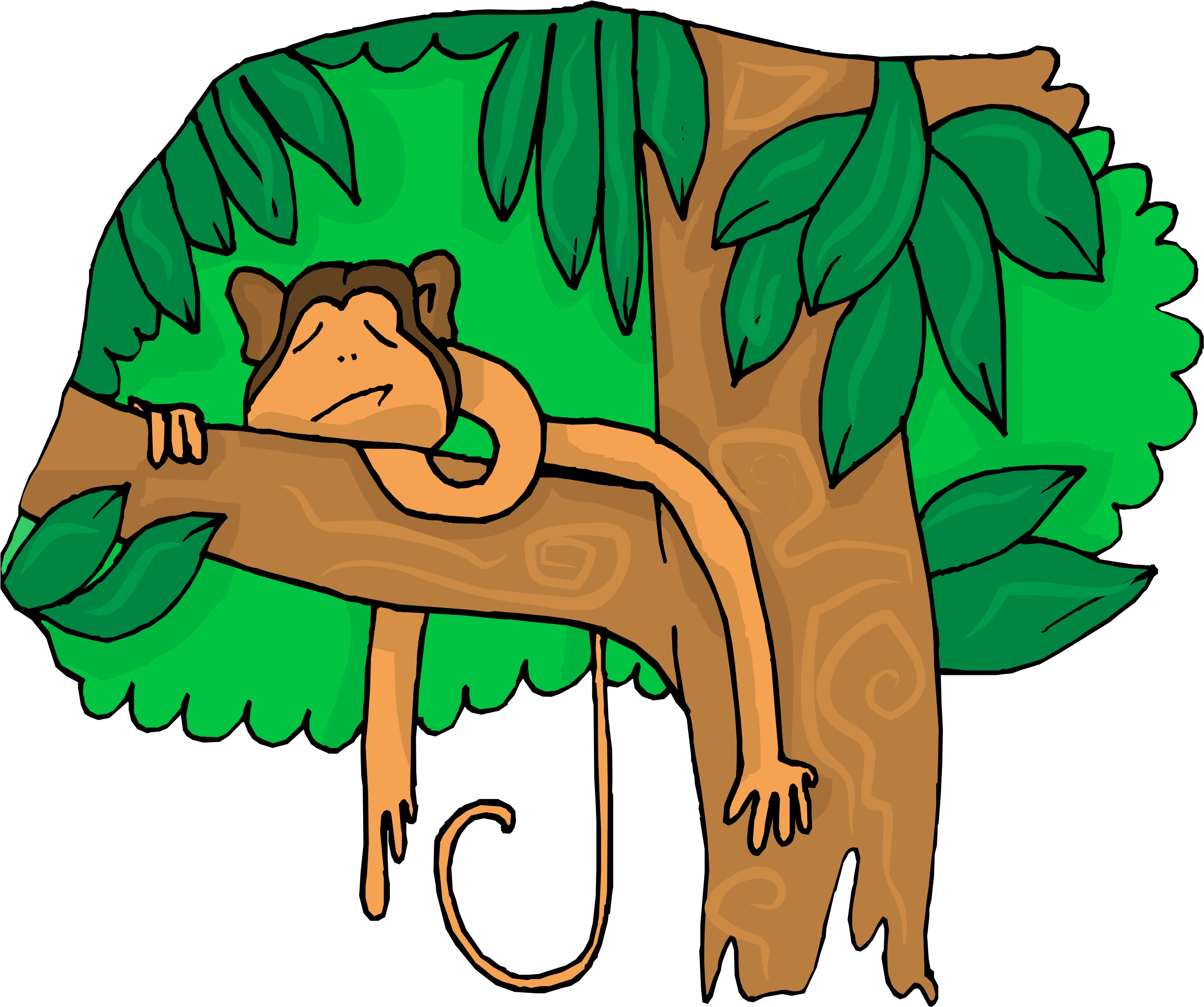 Monkey people in trees clipart.