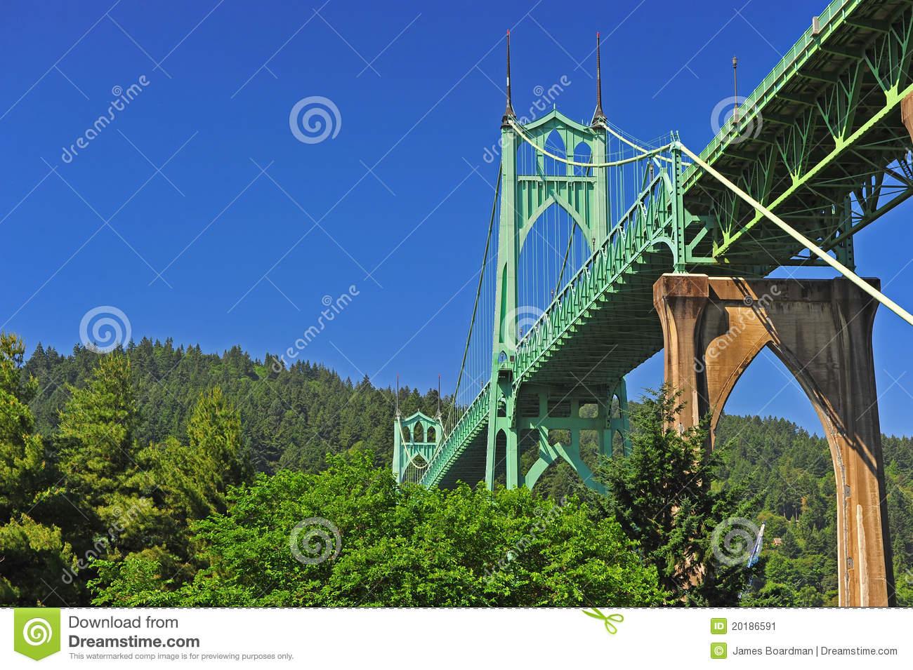 Bridge Towering Above The Trees Stock Image.