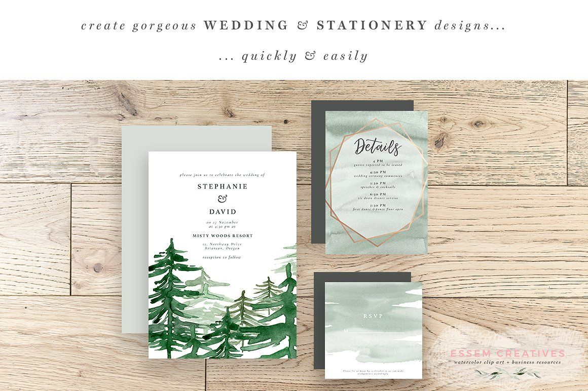 Rustic Forest Watercolor Backgrounds, Rustic Rose Gold.