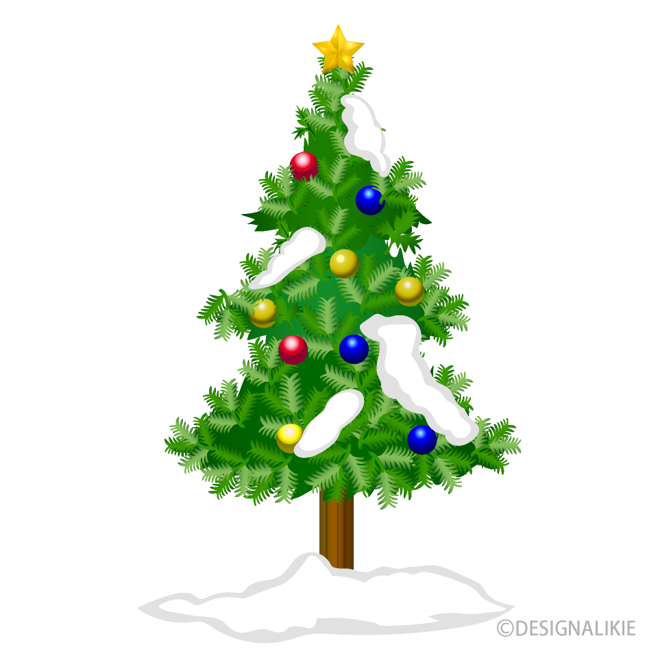 Free Christmas Tree and Snow Clipart Image|Illustoon.