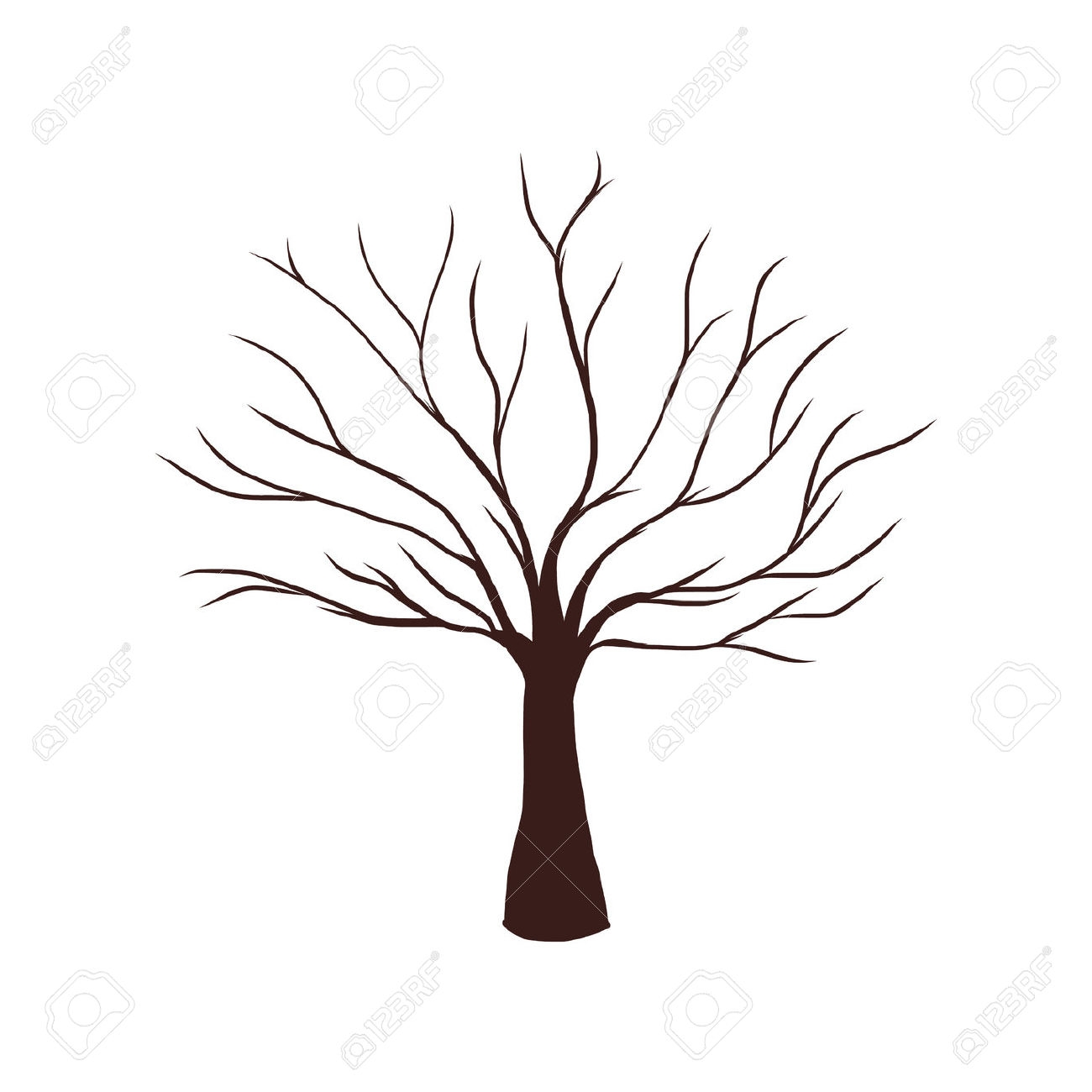 Brown tree without leaves drawing.