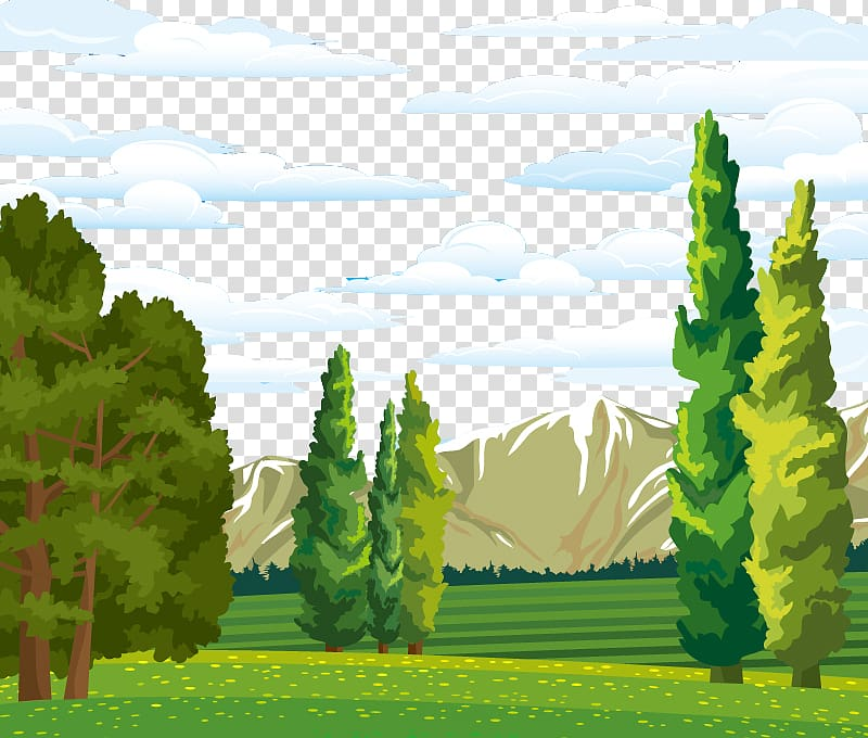 Tree and mountain illustration, Landscape Forest Euclidean.
