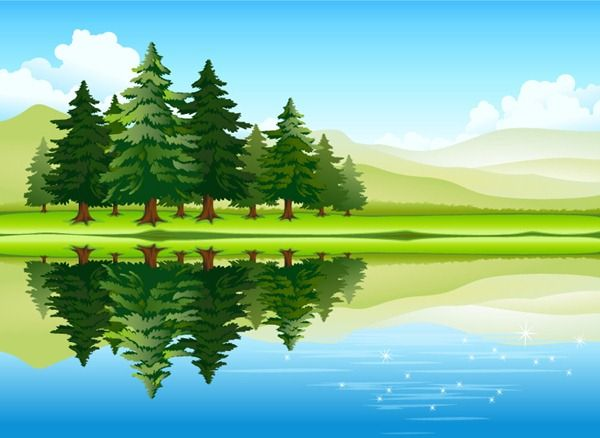 Beautiful lake forest scenery vector material.