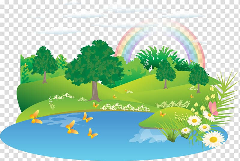 Trees and rainbow illustration, Landscape Euclidean Drawing.