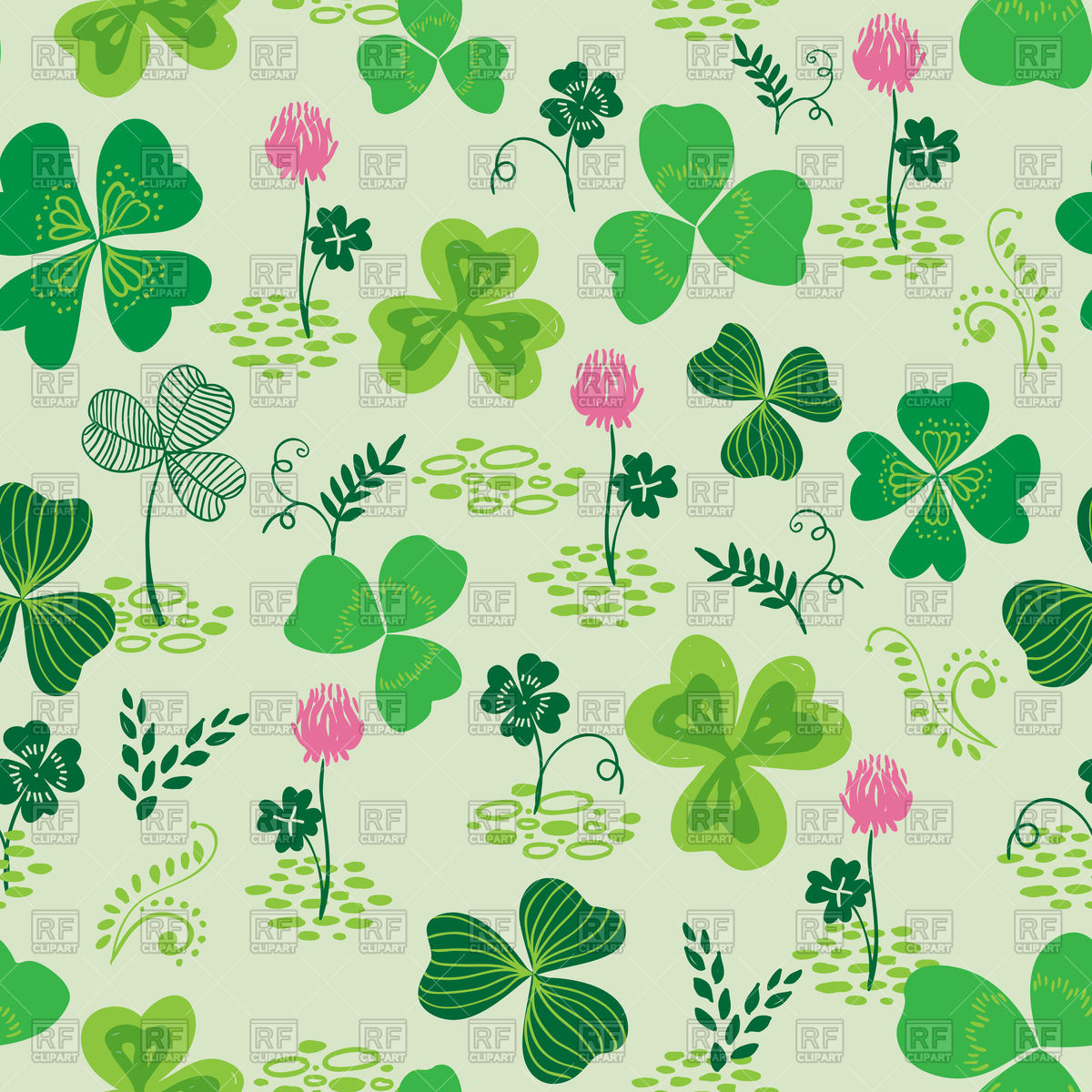 Seamless hand drawn clover or trefoil pattern Vector Image #100799.