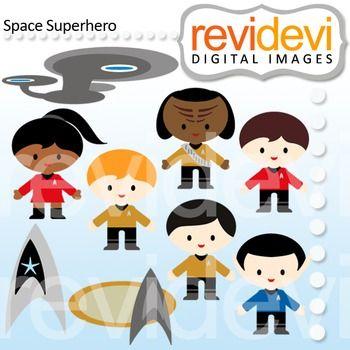 Clip art Superhero kids (star trek inspired clipart).Clipart set.