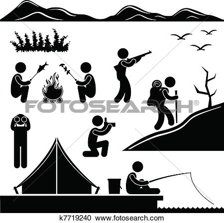 Clipart of Jungle Trekking Hiking Camping Camp k7719240.