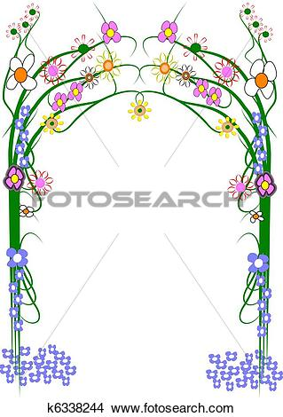 Drawings of large garden trellis on white k6338244.