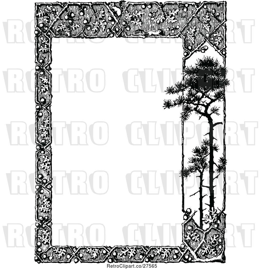 Vector Clip Art of Retro Woodland Trellis and Tree Border 2.