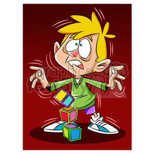 luke the teen cartoon character trembling from earthquake clipart.  Royalty.