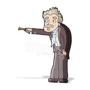 cartoon man trembling with key unlocking Clipart Image.
