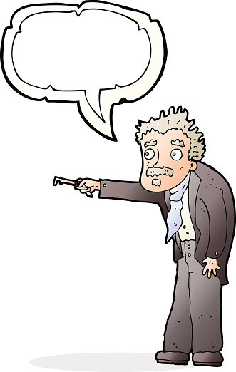 cartoon man trembling with key unlocking with speech bubble.