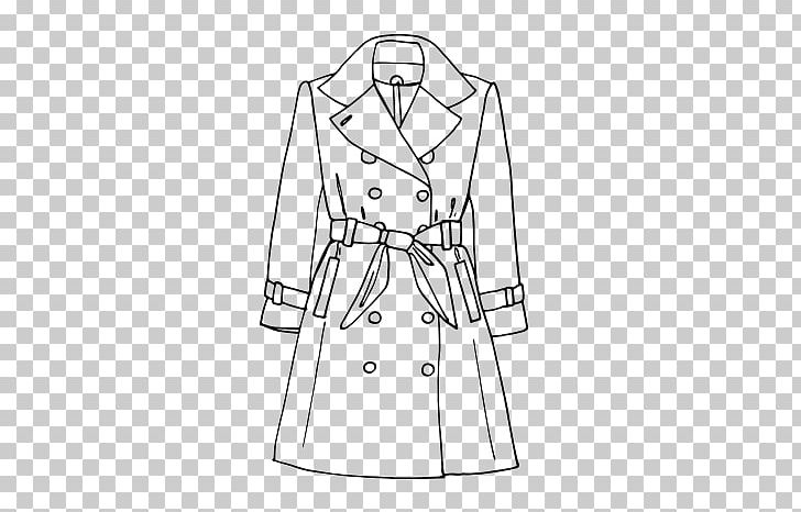 Trench Coat Drawing Painting Fashion Black And White PNG.
