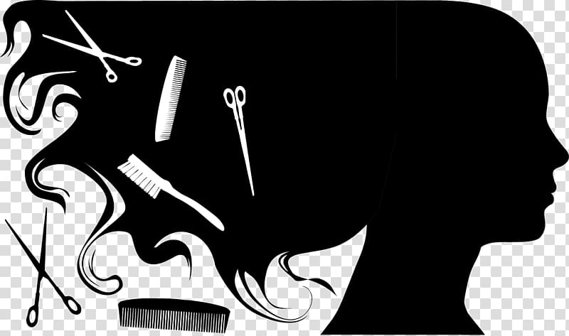 Two scissors, one brush, and comb illustrations, Beauty.
