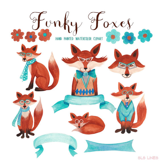 Fox watercolor clipart, trendy foxes graphics for commercial use.