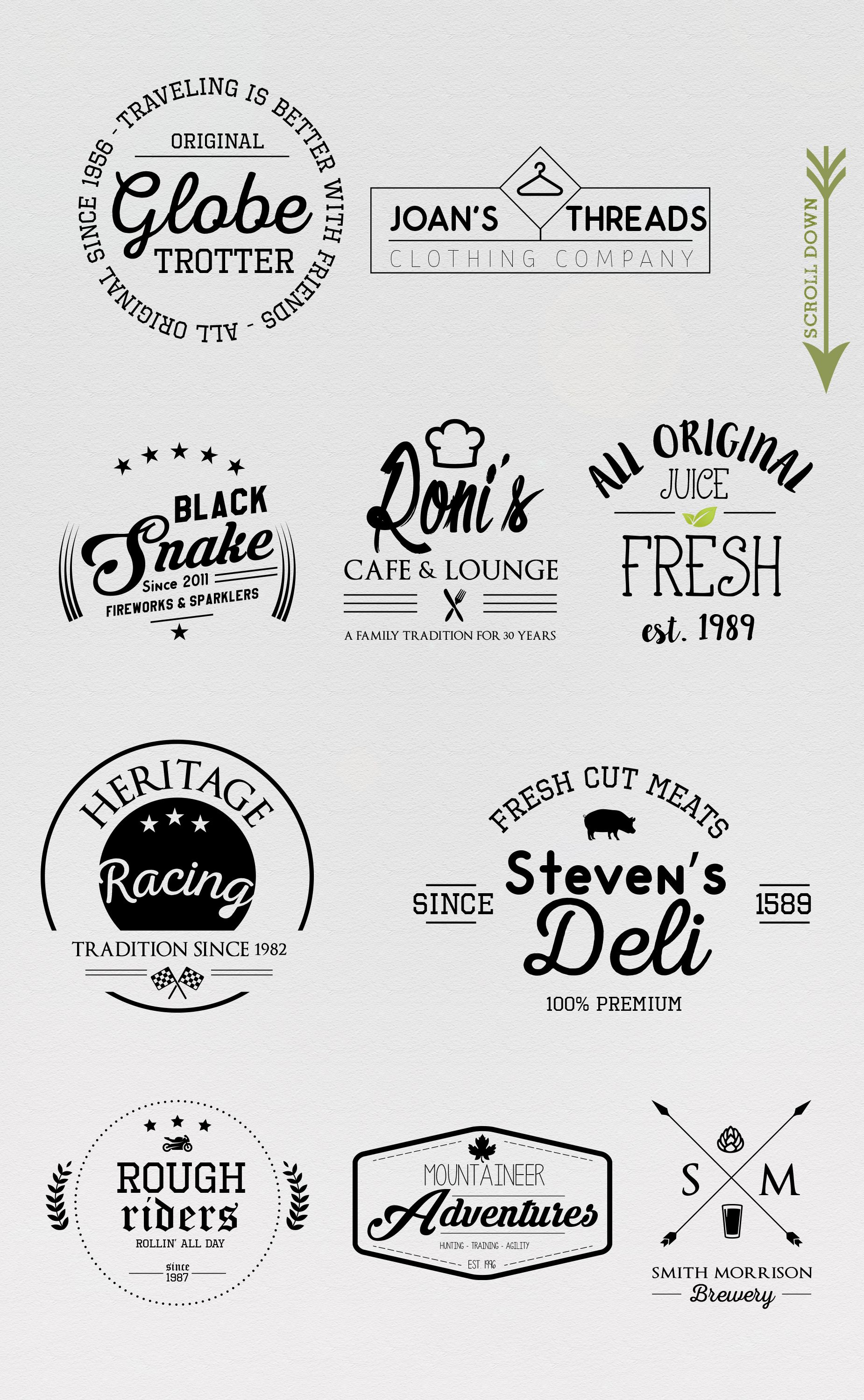 10 Trendy Logo Templates by Vector Chameleon on Creative.