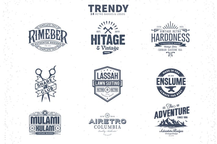 18 Trendy Retro Badges and Logos by designhatti on Envato Elements.