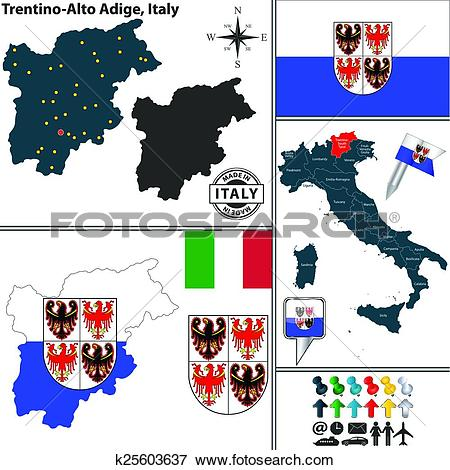 Clip Art of Map of Trentino.