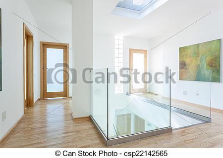Stock Bild von gang, Treppengeländer, treppe, modern, glas, Türen.