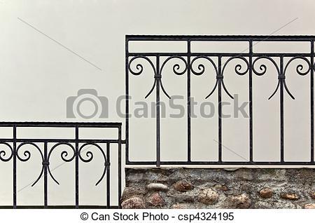 Stock Bilder von altes, Treppengeländer, Eisen.