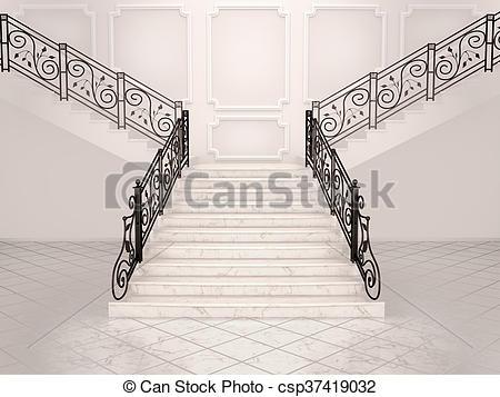 Zeichnungen von Treppengeländer, treppenaufgang, Führen, Auf.