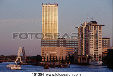 Stock Photo of Buildings at waterfront, Allianz Tower, Treptow.