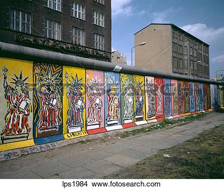 Stock Photo of 03 1986 Germany Berlin Wall With Liberty Graffiti.