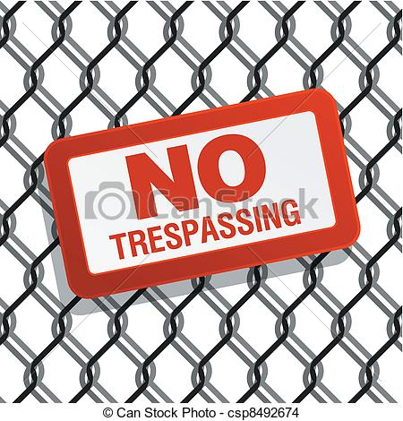 EPS Vector of no trespassing sign on chain link fence csp8492674.