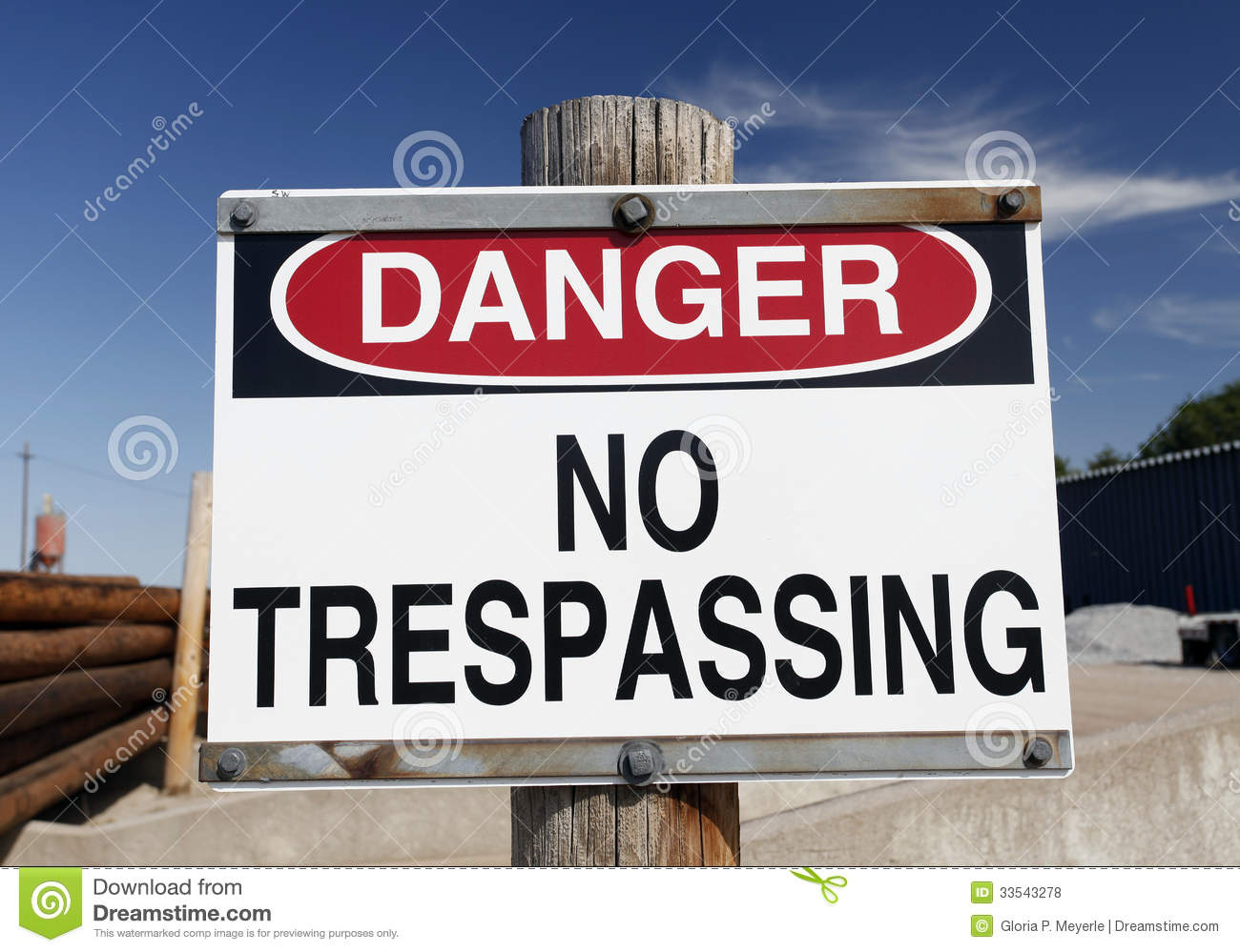 Danger No Trespassing Sign Royalty Free Stock Photos.